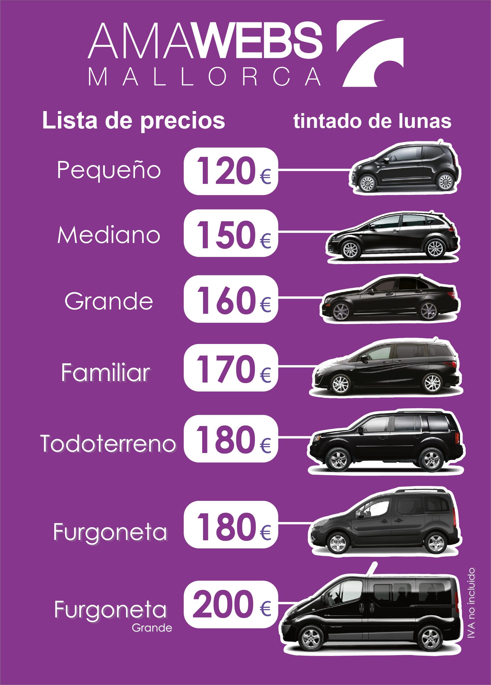 precios de tintado de lunas para vehículos